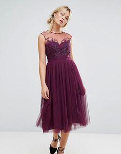 Little Mistress Allover Lace Applique Top Midi Dress - Purple