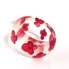 Botanical Statement Bangle. Red Hydrangea Contemporary Jewelry.  Handmade Modern Chunky Bracelet.  Unique Art.  Bracelet. via Etsy
