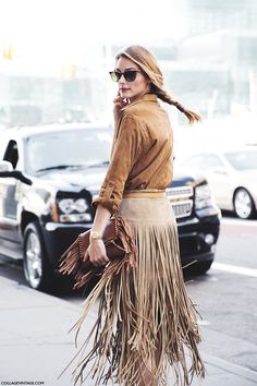 light fringe skirt to contrast with the darker suede shirt