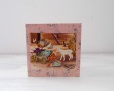Handmade Card with Vintage Illustration Kid Goat, Chickens,Vegetable cart, Farmyard scene by MissKatysVintageShop on Etsy