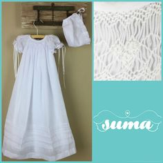 Baptism Gown cotton  Long Christening Gown  Bonnet by SUMACLOTHING