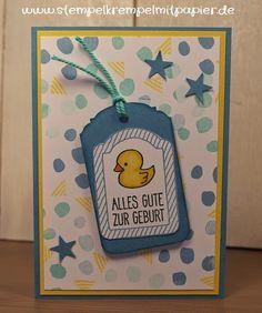 Stempelkrempel mit Papier : Babykarte zur Geburt eines kleinen Jungen - Karten...
