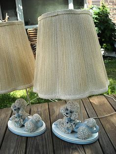 2 Vintage 50's SPAGHETTI POODLE Table LAMP w/ shades
