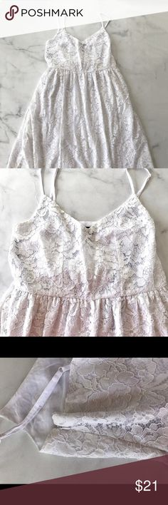 White Lace Midi Dress Gorgeous a line midi dress. Never worn, adjustable straps. Comes right under the knees. Gorgeous for work or a wedding. Forever 21 Dresses Midi