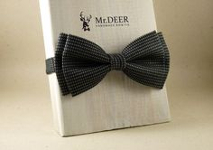 Black and Gray Bow Tie - Ready Tied Bow Tie - Adult Bow Tie - Mens bowtie - Groomsman, Wedding Bow Tie - Gift for Him - Mr.DEER
