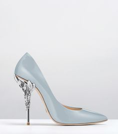 Ralph & Russo - Haute Couture Collection SHOES - STYLE 20-EDEN HEEL PUMPS-SKY BLUE PATENT WITH SILVER LEAVES