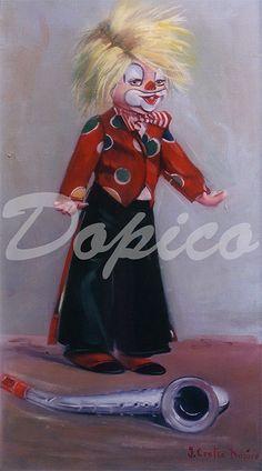 Payaso/Pallaso/Clown. Técnica/Technique: Óleo/Oil on canvas. Tamaño/Dimensións/Size: 33 x 66 cm. Referencia/Referente/Reference: CUADROS0348.
