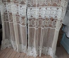 Antique French filet lace curtains drapes, handmade window curtain drapery panels, linen crocheted filet lace w needle lace, w fringes by MyFrenchAntiqueShop on Etsy