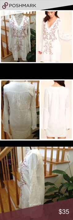✨Ivory Embroidered Long Bell Sleeves Dress✨ ✨Lightweight V Neckline Dress✨Long Bell Sleeves✨Ivory & Lined✨💯Rayon✨Loose Fit✨Hand Wash Cold Dresses Long Sleeve