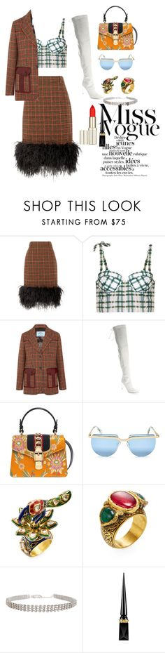 """""""Untitled #173"""" by xoutfiter ❤ liked on Polyvore featuring Prada, Rosie Assoulin, Oscar de la Renta, Gucci, Le Specs, Amrapali and Christian Louboutin"""