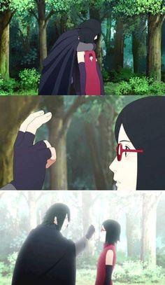 Sasuke and Sarada cutest moment  Forehead Poke and bonus Hug ❤️❤️❤️