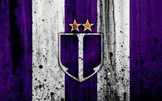 Download wallpapers 4k, FC Ujpest, grunge, NB I, Hungarian Liga, soccer, football club, Hungary, Ujpest, art, stone texture, Ujpest FC