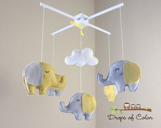 Baby Mobile - Elephant Mobile - Yellow and Gray - Baby Crib Mobile - Nursery Decor (You can Pick your colors)