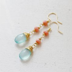 Aqua Blue Chalcedony Drop and Coral Wire Wrapped by YuniDesigns