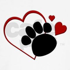Dog Paw Print with Love