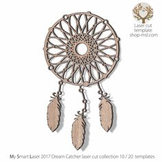 Detailed dream catcher template for laser cutting. 20 unique designed dream catchers . Dream Catcher Vector, Hoop Dreams, Dreams And Nightmares, Dream Catchers, Mandala Design, Vector Pattern, Laser Cutting, Mother Day Gifts, Free Design