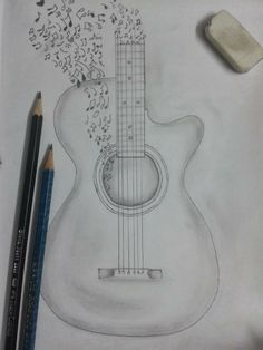 I surfed online for a Guitar image. I found this ; I used a scale to maintain a ratio and that worked really well.
