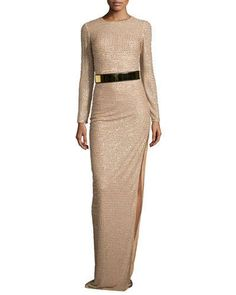 T9RCA Stella McCartney Long-Sleeve Sequined Silk Gown