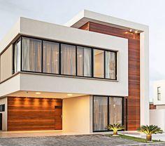 Fachada de casa minimalista Modern Exterior House Designs, Modern House Facades, Dream House Exterior, Modern House Plans, Modern House Design, Exterior Design, Two Story House Design, House Front Design, Small House Design