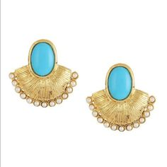 Baby blue, pearl, and fan shaped earrings Gorgeous Bollywood fan shaped retro style  earrings. Gold tone with baby blue enamel accent and bordered with mini pearls for extra glam. Post backs. Length = 1.5 inches. Jewelry Earrings