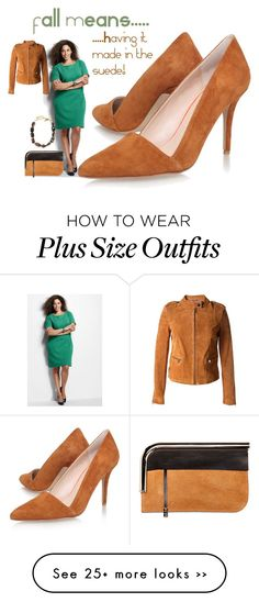 """Made in the Suede"" by cirlylocks on Polyvore featuring Lands' End, Proenza Schouler, Oscar de la Renta and plus size dresses"