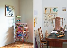 stack em high! love these chairs and the color too.