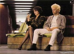 Isabelle Adjani as Héléna and Christopher Lambert as Fred in 'Subway', designed…