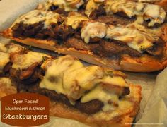 Melissa's Southern Style Kitchen: Open Faced Mushroom & Onion Steakburgers Soup And Sandwich, Sandwich Recipes, Meat Recipes, Dinner Recipes, Savoury Recipes, Yummy Recipes, Steaks, Mushroom And Onions, Burger Dogs
