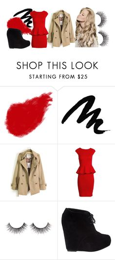 """""""91: Warrior"""" by hello-olivia ❤ liked on Polyvore featuring Shiseido, Yves Saint Laurent, Alice + Olivia, Steve Madden, lace-up booties, platform booties, long trench coats, peplum dresses, trench coats and false eyelashes"""