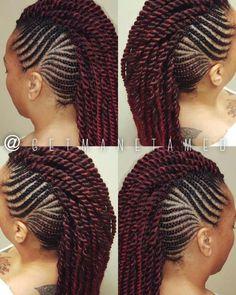 28 Ideas for crochet braids mohawk hairstyles protective styles # crochet Braids. 28 Ideas for cro Box Braids Hairstyles, Cornrolls Hairstyles Braids, Braided Mohawk Hairstyles, Twist Hairstyles, African Hairstyles, Braided Mohawk Black Hair, Braids For Black Hair, Scene Hair, Protective Style Braids