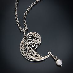 Russian Filigree Paisley Pendant with Freshwater di beverlyschnell, $450.00