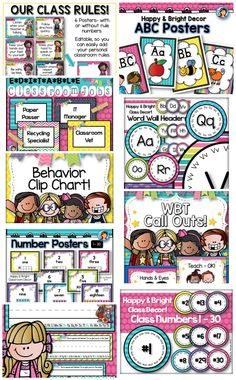 Bright and Happy Classroom Decor! Just print and go :) Included: Alphabet posters, number posters, name labels, table numbers (free), classroom numbers, word wall headers, behavior clip chart, classroom rules, WBT (whole brain teaching) rules and call outs and classroom jobs :)