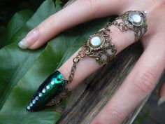 armor ring triple chained jewel beetle ring nail by gildedingypsy, $38.00