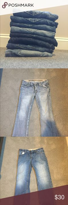 7 pairs of high quality men's jeans!! I have 7 very nice pairs of jeans that in great shape and are all the same size (33/30). I would like to get rid of at the same time. They will start off at 30$ ea. if bought individually but if you all 7 pairs, they will be 20$ ea. The brands are as follows: - 2 pairs of Express jeans - 2 pairs of X2 jeans  - 2 pairs of American Eagle jeans - 1 pair of King of Prides jeans Jeans