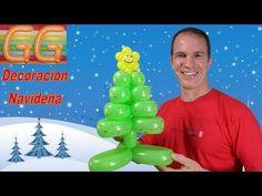 como hacer un arbol de navidad con globos largos - globoflexia - adornos navideños - YouTube
