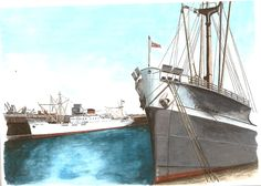 "A Liverpool Docks scene from the 1960's showing the freighter ""Crosbian"" moored in the foreground with a ""Palm Line"" freighter moored in the background. Medium: watercolor on 9"" x 11"" watercolor paper."