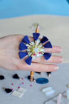 Opal quartz ring, gemstone ring, statement ring, opal ring, pearl ring, chunky ring, blue ring, tassel ring, spiked ring, Rave ring