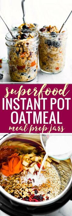 Superfood Instant Pot Oatmeal In A Jar A Healthy Breakfast Meal Prep Recipe Or Breakfast To-Go. This Electric Pressure Cooker Oatmeal Recipe Is Filled With Superfoods Gluten Free Rolled Oats, Apples, Walnuts, Flaxseed, Goji Berries. Healthy Breakfast Meal Prep, Gluten Free Recipes For Breakfast, Best Breakfast, Whole Food Recipes, Breakfast Ideas, Second Breakfast, Family Recipes, Brunch Recipes, Drink Recipes