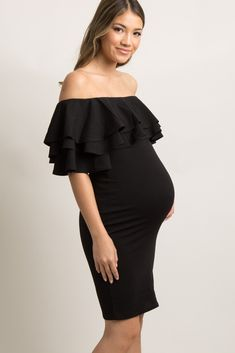 6c60f34507 Black Layered Ruffle Off Shoulder Fitted Dress A solid hued