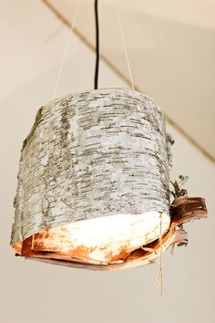 Nature Inspired Lighting DIYs: Bark String Lights