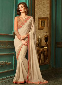 Cream saree