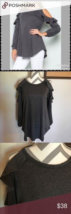 Charcoal Cold Shoulder Ruffle Top Charcoal Cold Shoulder Ruffle Long Sleeve Top Soft French Terry  Some stretch 🇺🇸Made in USA🇺🇸 88% polyester, 9% rayon, 3% spandex. Hand wash. 1 Medium(6-8)  Bust 38 in, Length 29 in, Sleeves 24 in.  1 Large(10-12) Bust 40 in, Length 30 in, Sleeves 25 in. Direct from wholesaler without tags. Boutique Tops Tees - Long Sleeve