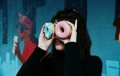 Instagram @camilla_flavoured_vodka  Photography | Donut | Colourful | Girl | Bangs | Fringe | Dark Hair | Eyes