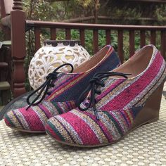 Multi-colored Chelsea Crew Wedges These are so flipping cute for fall!! I just don't get enough use! I've worn them a few times and wear is reflected in Pics (and in price). I did put foot petals in them so it wouldn't be so hard on the balls of my feet. Size 8 but are narrow. I'm a 7.5 and they fit me so listing as such. Price firm no trades or PayPal. Chelsea Crew Shoes Wedges
