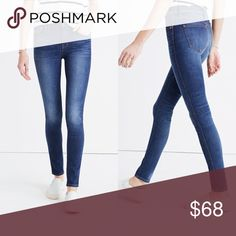 """MADEWELL 9"""" High Rise Skinny in Polly Wash New with tags. Brand label marked to prevent store returns.   13"""" waist across 9"""" rise 28"""" inseam  86% cotton, 10% polyester, 4% elastane Madewell Jeans Skinny"""