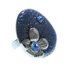 Anillo Flor y Cristal Azul