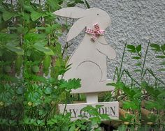 wood sign, rabbit wood sign, my garden sign, my garden wood sign, bunny rabbit sign, outdoor & gardening, garden decoration, painted white