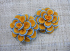 Handmade Felt Flowers - 3D DAHLIA - Orange. $4.75, via Etsy.