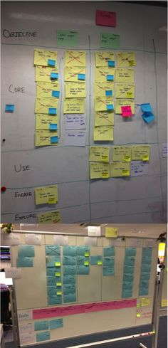 Nikhil Joshi  @niksjoshi 1. Demand wall in action! 2. Product roadmap wall organised by user goal and release! (Blurred the card text to maintain confidentiality of the client)  #agile #thoughtworks #BestCardWall