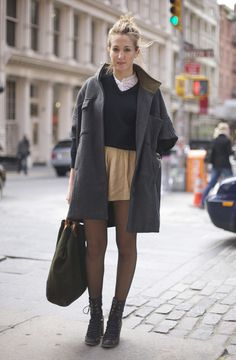 End of Spring, NYCCoat:Grey MADEWELL Coat over Blue Sweater over White Lace TopSkirt:Beige SkirtShoes:Black BootsBag:Army Green BagPhoto By:Phil Oh